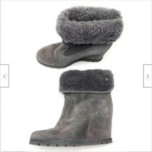 UGG Kyra Genuine Shearling Wedge Boots Gray 8.5